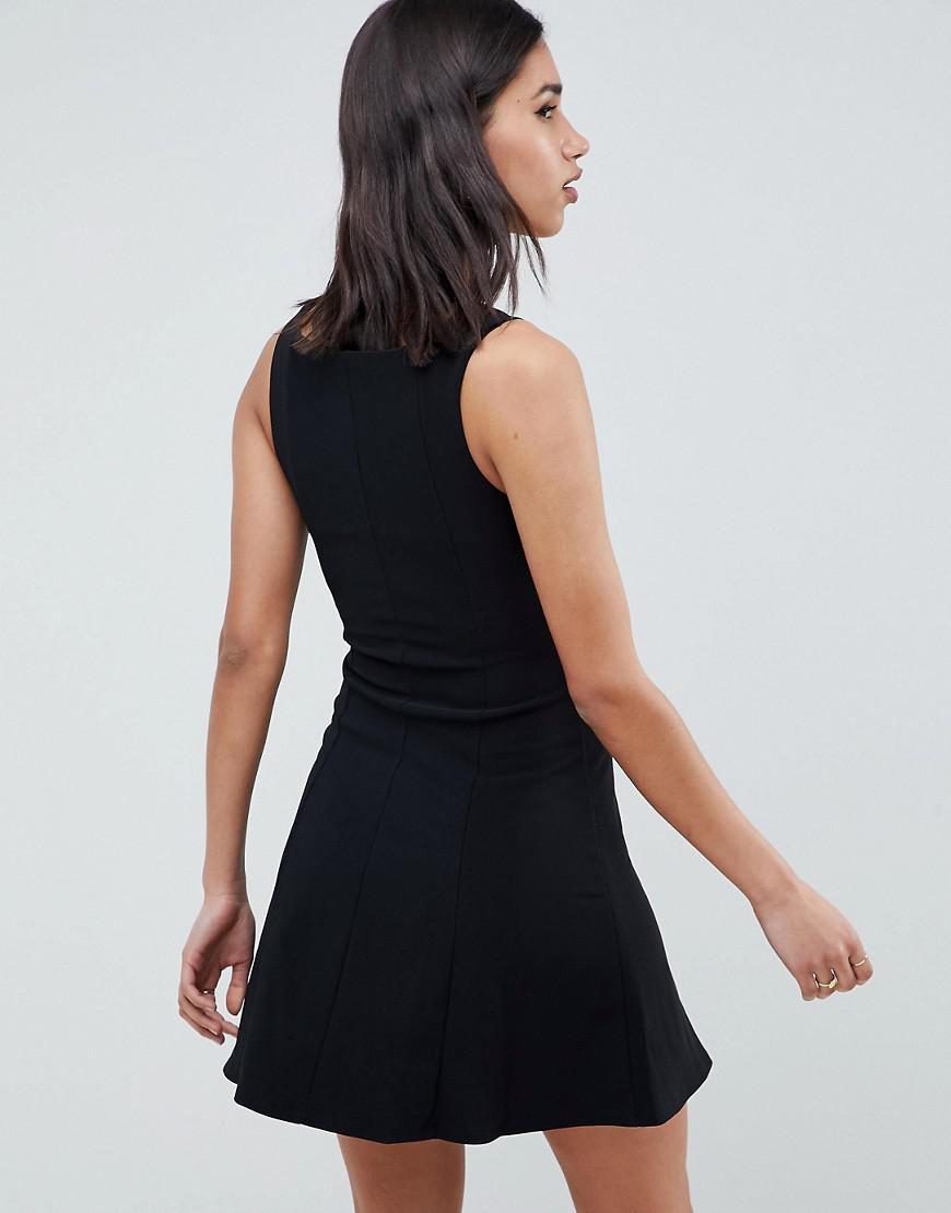 4d776047d0 ASOS Asos Premium Rib Mini Skater Dress With Faux Leather Corset in Black -  Lyst