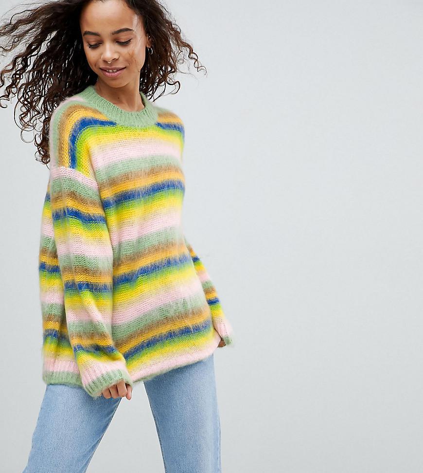 Asos Oversized Sweater Fluffy Rainbow Stripe | Lyst