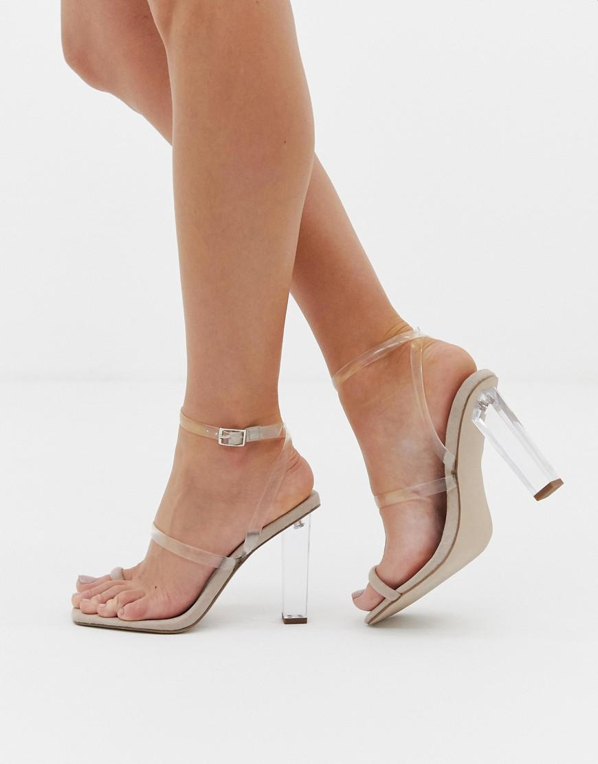 d602bf2fd7b9 Lyst - ASOS Herald Clear Barley There Block Heeled Sandals in Natural