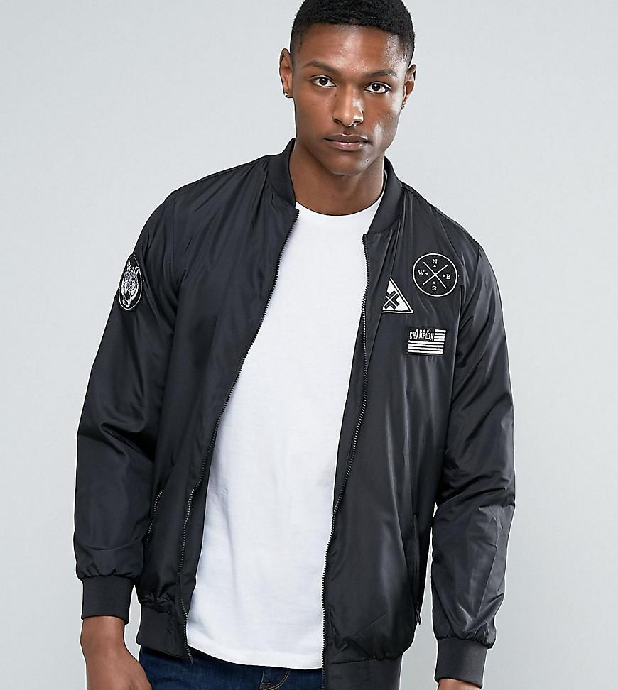 65626a218 Jacamo Tall Bomber Jacket With Badges In Black in Black for Men - Lyst