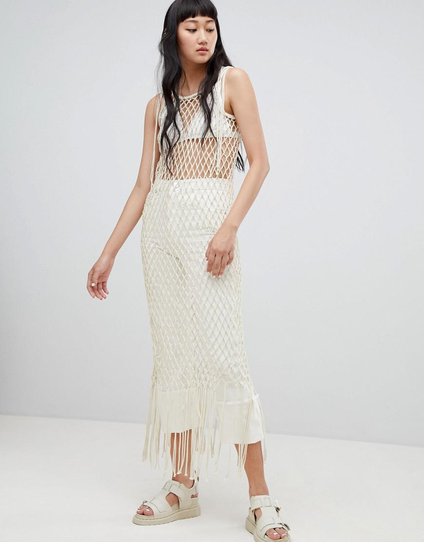 acbfd188e193f2 Lyst - Weekday Limited Edition Rope Fringe Bodycon Dress in Natural