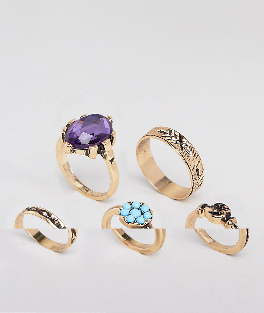 DESIGN Pack Of 2 Cactus And Stone Rings - Gold Asos 9HpDk