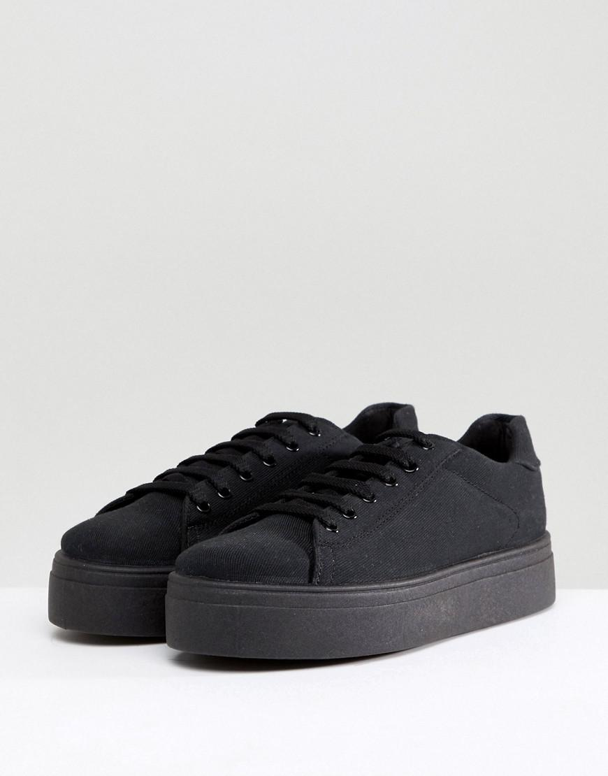 a46755bd1 ASOS Wide Fit Day Light Chunky Flatform Lace Up Trainers in Black - Lyst