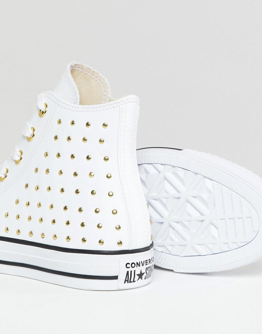 4032d50a1cb4 Converse Chuck Taylor All Star Leather Studded Hi Sneakers In White in White  - Lyst