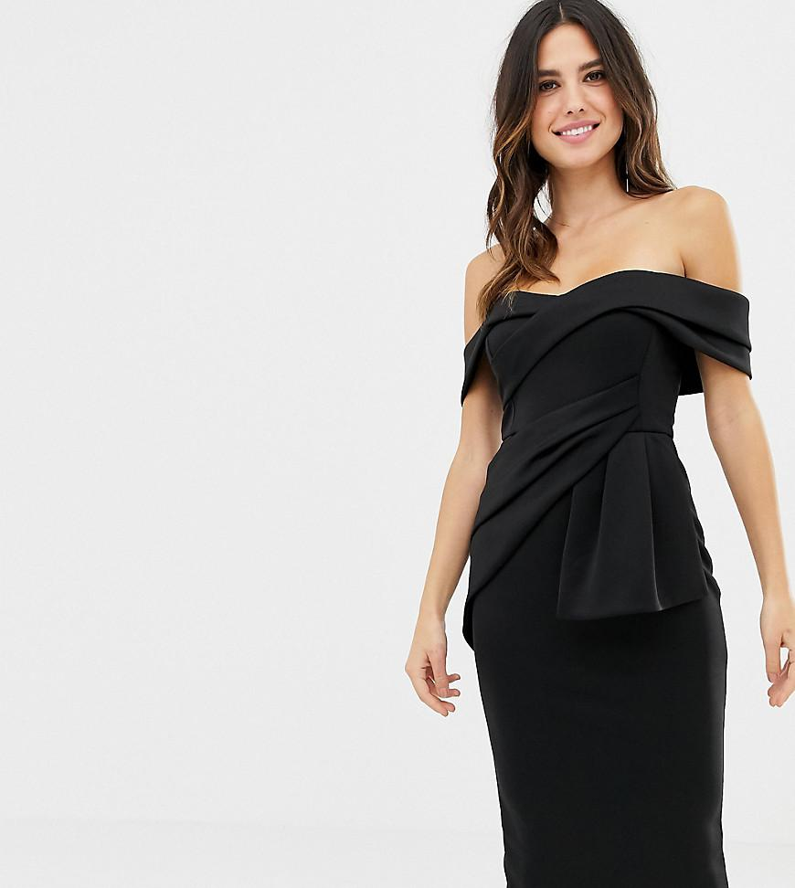 96c50577e3e5 ASOS. Women's Black Asos Design Petite Bardot Fold Wrap Front Midi Pencil  Dress
