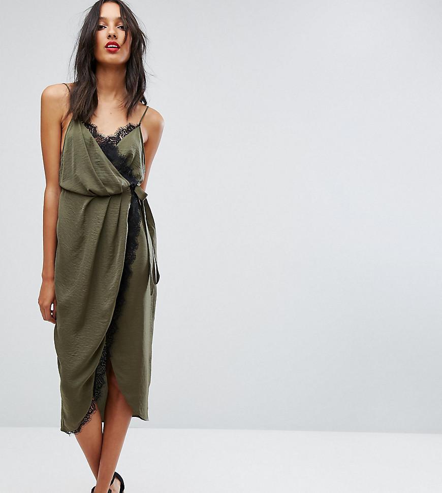 6313906e6e4b ASOS Hammered Satin Lace Trim Midi Wrap Dress in Green - Lyst