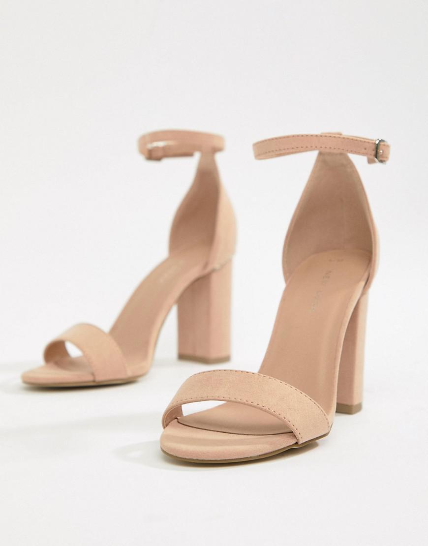 fb377dda6907 Lyst - New Look Block Heel Minimal Sandal in Natural