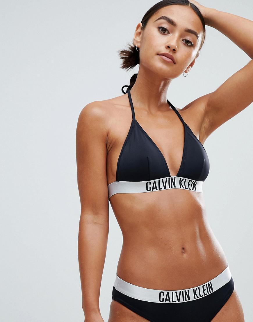 7758d0a225 Calvin Klein - Fixed Triangle Bikini Top In Black - Lyst. View fullscreen