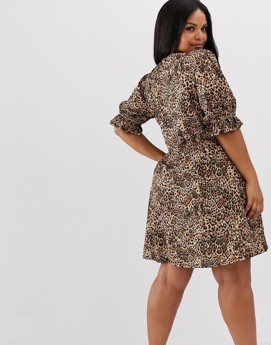 d1cb89e5aa9 Lyst - ASOS Asos Design Curve Button Through Rib Tea Dress With Puff Sleeve  In Animal Print in Brown