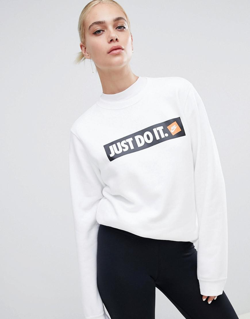 8b2dd590522ed Nike White Just Do It Logo Crewneck Sweatshirt in White - Lyst