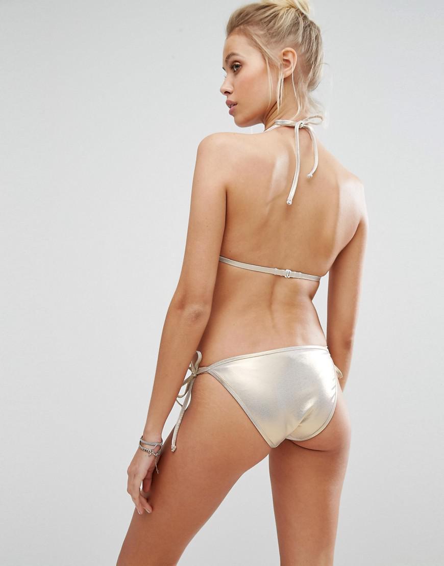 71cc108f8d Lyst - Bikini Lab String Tie Side Shell Brief in Metallic
