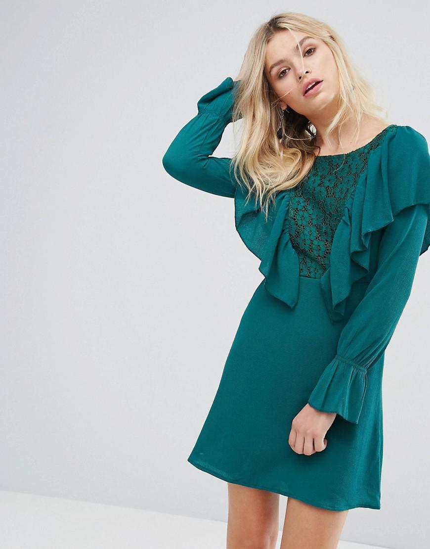 278b448dc09abf Lyst - Madam Rage Lace Insert Dress With Ruffle in Green