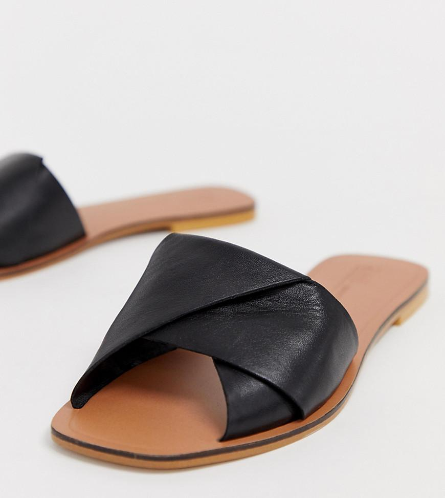 8a1d8805a64a1 Lyst - ASOS Wide Fit Favoured Leather Flat Sandals in Black