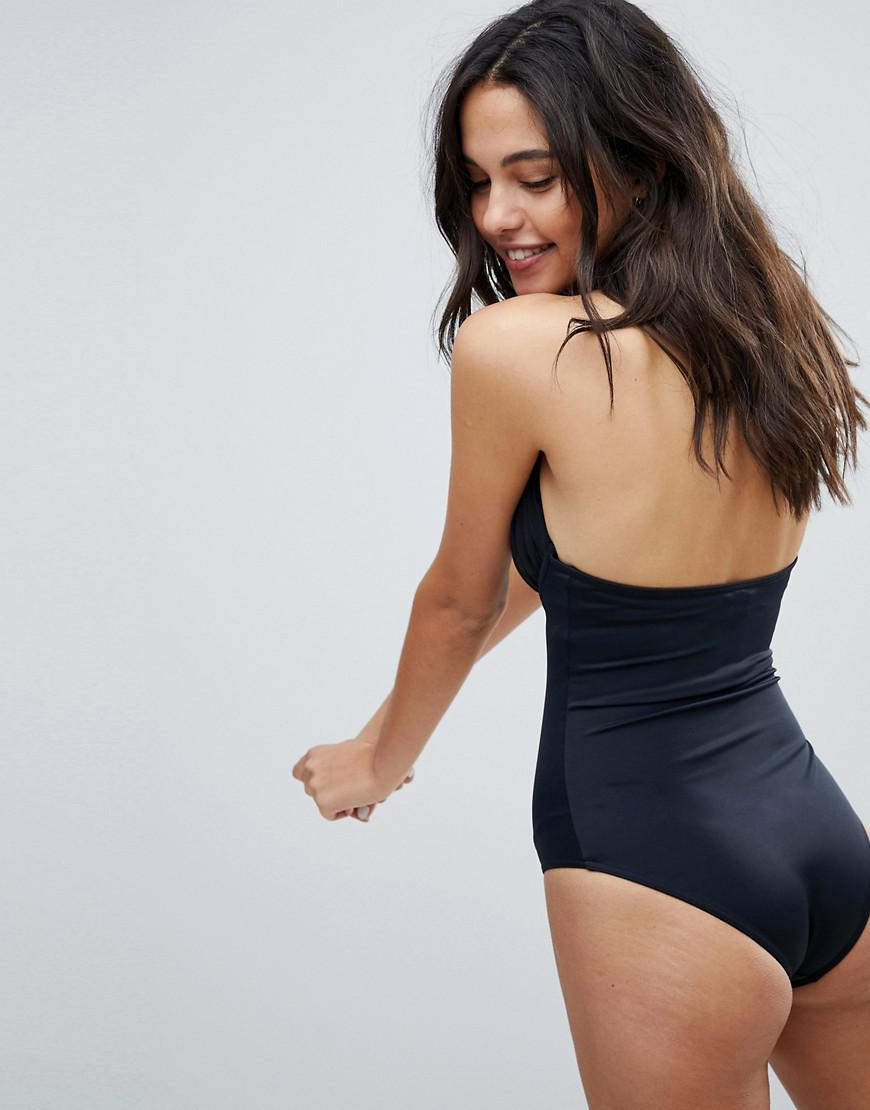 95523e379b ASOS 'sculpt Me' Control Push Up Plunge Supportive Swimsuit in Black ...