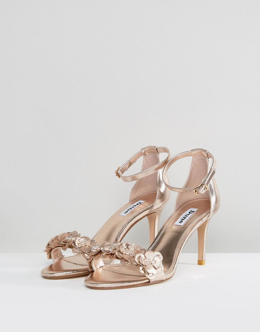 dee50d9364b7e Lyst dune magnolea rose gold flower trim heel sandal jpg 870x1110 Rose gold  heels with flowers