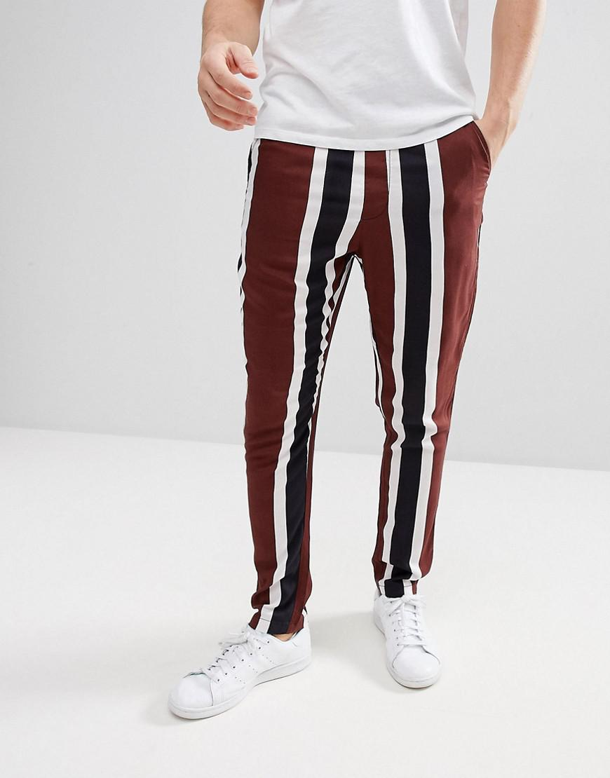 Tapered Trousers With Block Stripe Detail - Brown Asos Low Price Fee Shipping ET8P96Mre