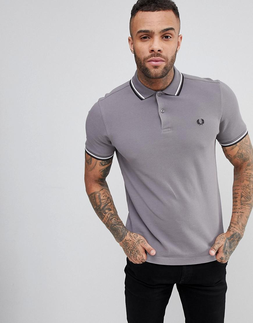 Fred Perry. Men's Gray Slim Fit Slim Fit Twin Tipped Polo Shirt ...
