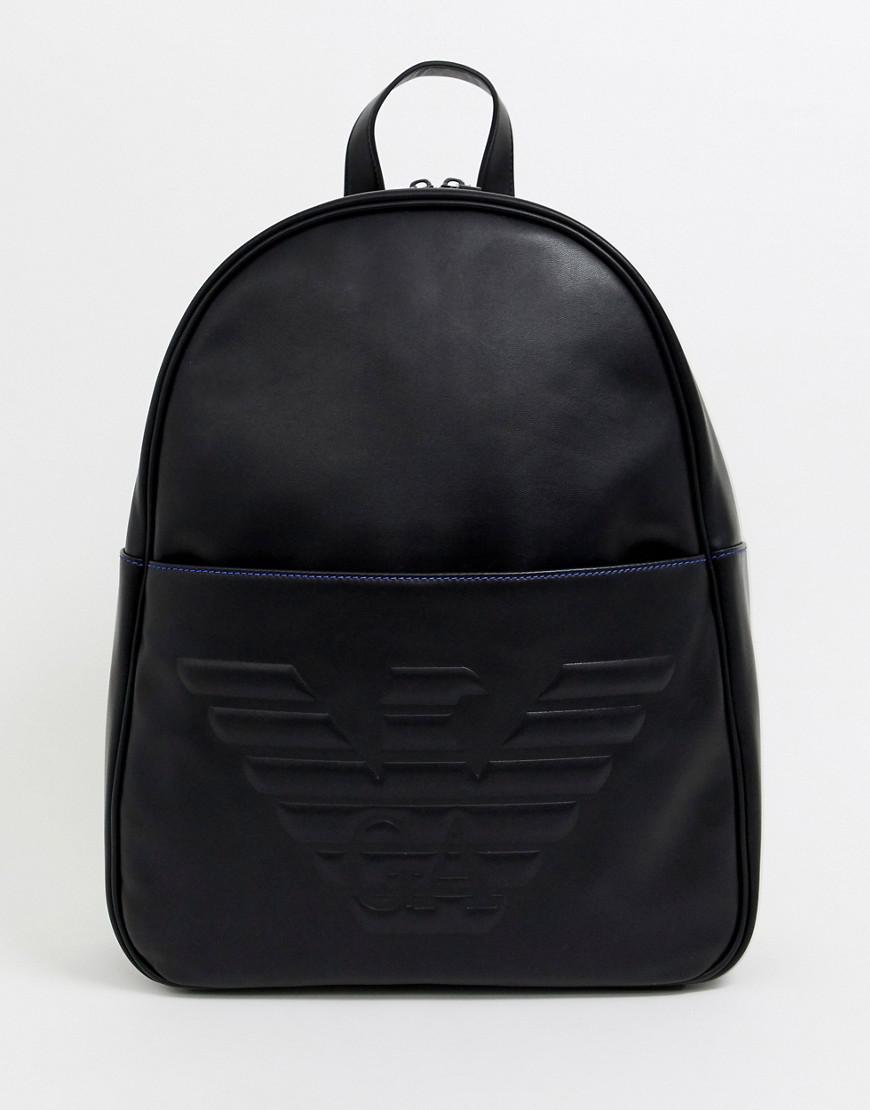 f09fa74fd5ef Emporio Armani Embossed Large Eagle Backpack In Black in Black for ...