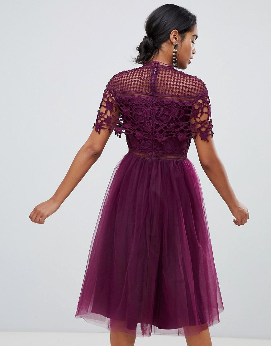 7c35035e6eab Chi Chi London 2 In 1 Lace Top Midi Dress With Tulle Skirt In Deep Purple  in Purple - Lyst