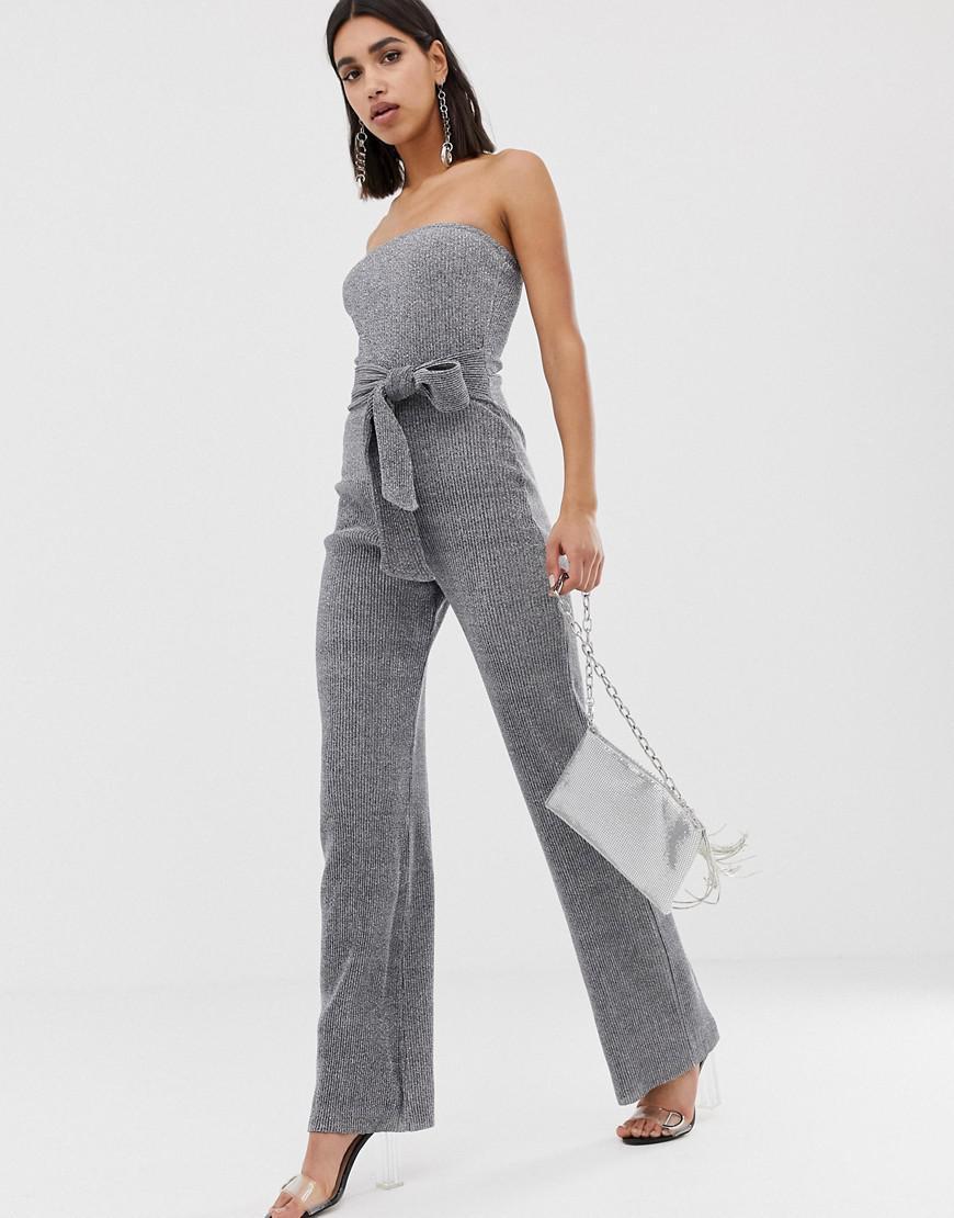 4dde67c70737 PrettyLittleThing. Women s Metallic Glitter Bandeau Wide Leg Jumpsuit ...
