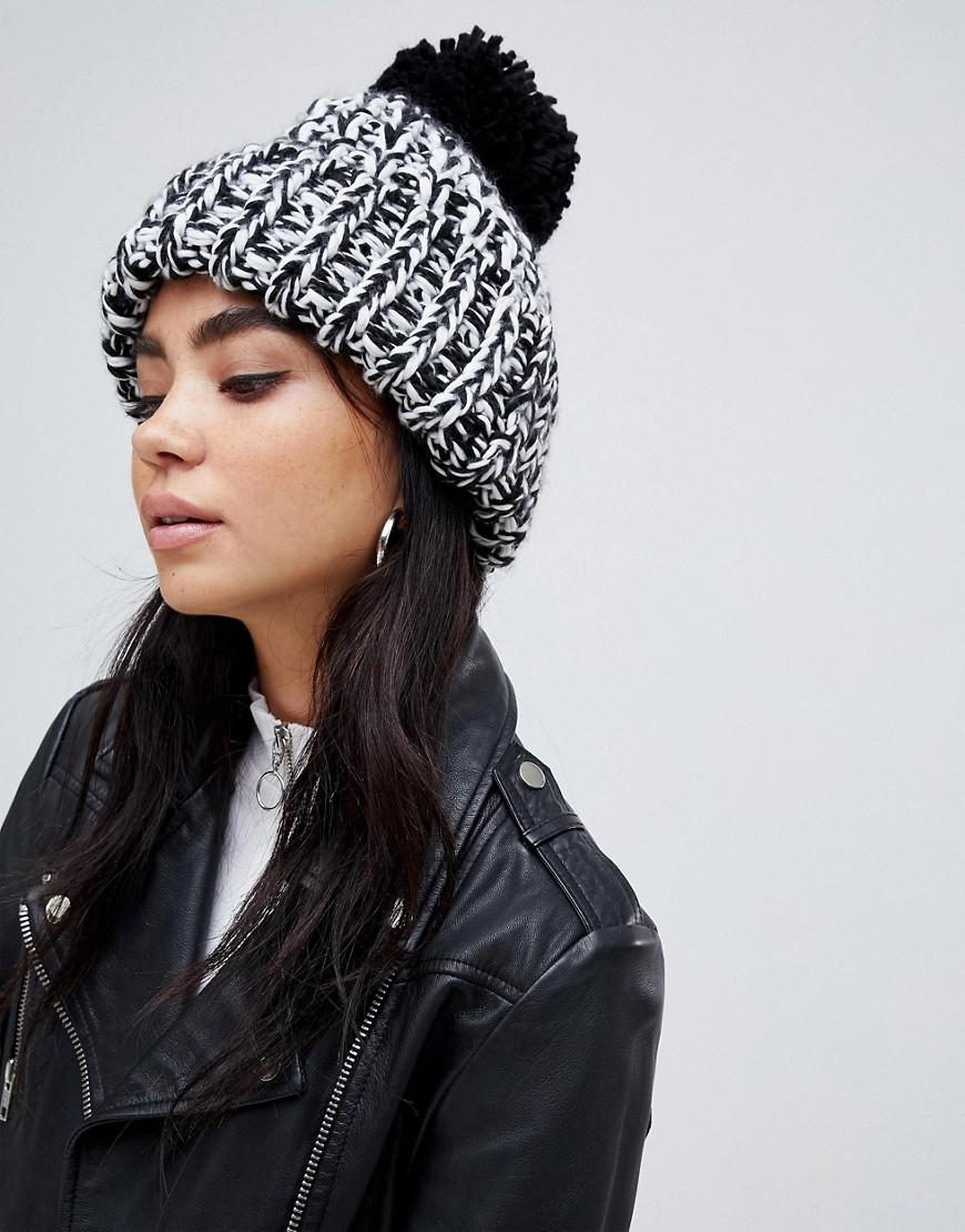2e7d5f477 Lyst - ASOS Chunky Mix Knit Beanie With Pom in Black