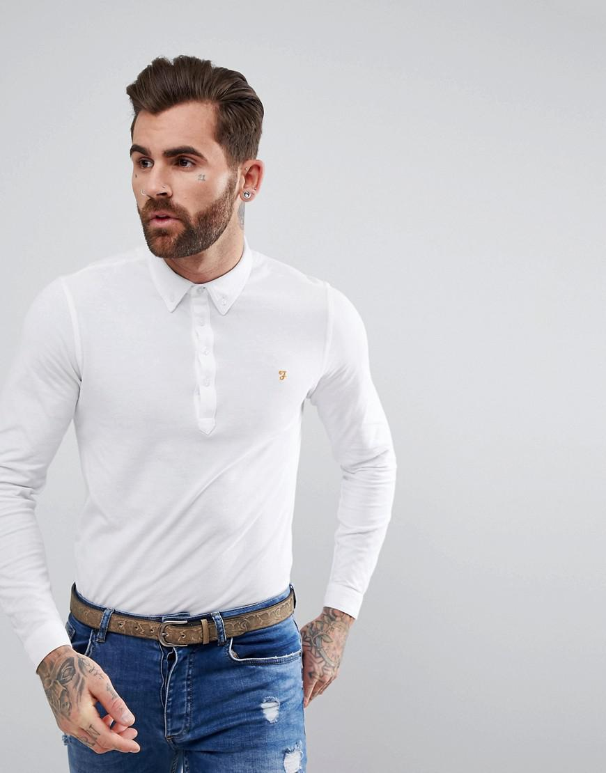 Farah merriweather long sleeve slim fit polo shirt in for White fitted polo shirts