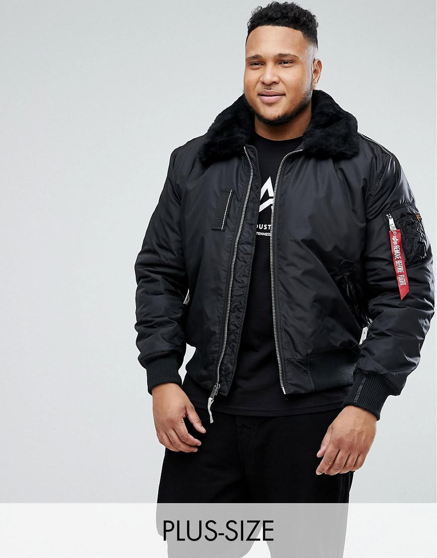 Alpha Industries Plus Bomber Jacket Shearling Collar In