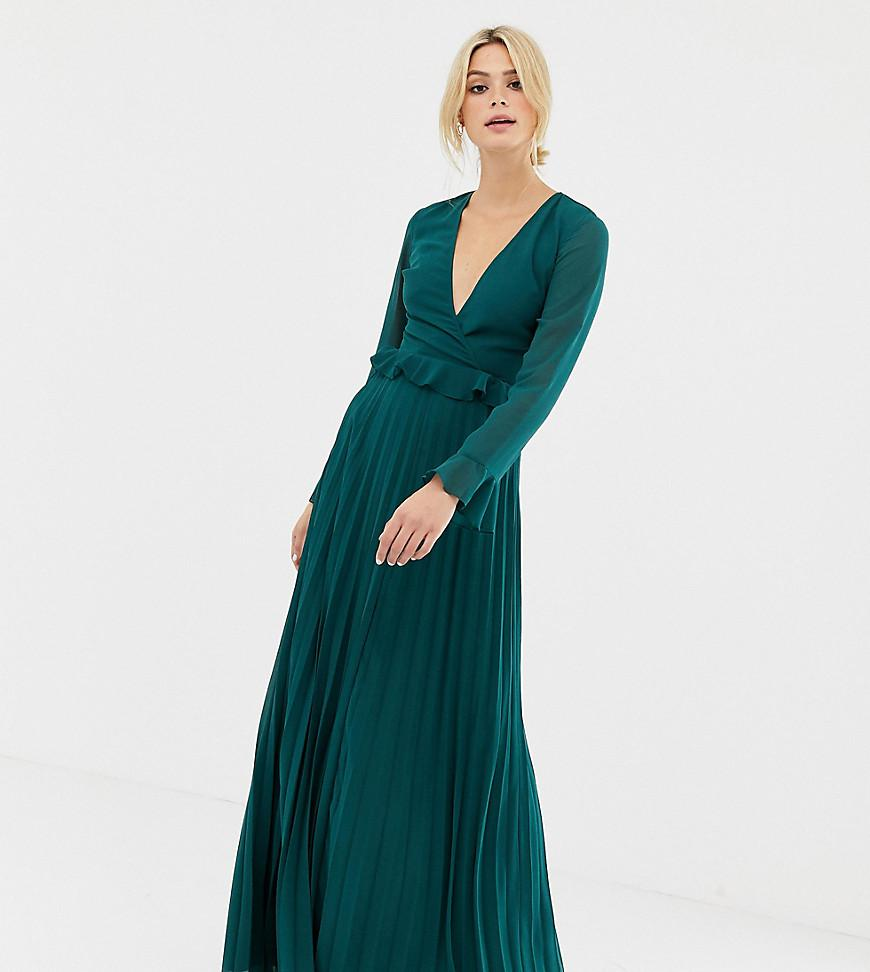a2e6925917 ASOS Asos Design Tall Pleated Wrap Maxi Dress With Ruffle in Green ...