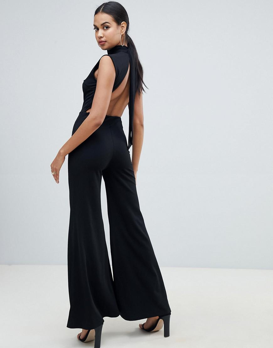 153a986ce85 Club L Tie Up Open Back Wide Leg Jumpsuit in Black - Lyst