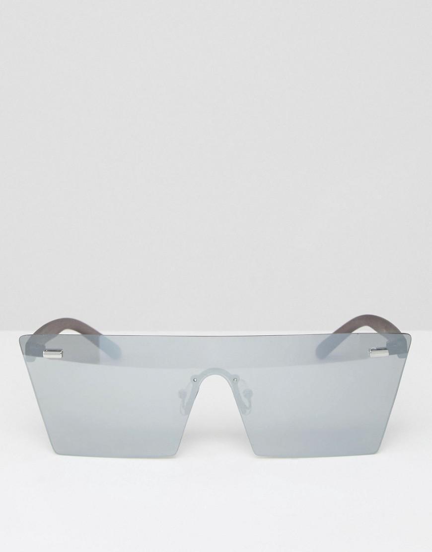ce910c1b2e Lyst - ASOS Flatbrow Visor Sunglasses With Silver Lens in Metallic ...
