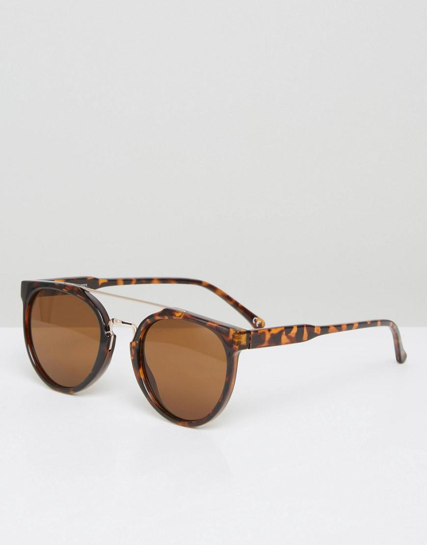 b09b1c4ac Lyst - ASOS Round Sunglasses In Tort With Gold Brow Bar in Brown for Men