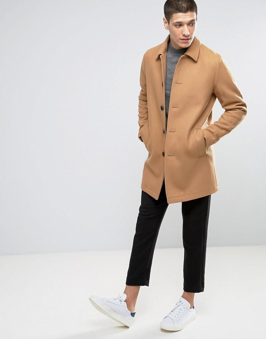 shop complete in specifications best ASOS Wool Mix Trench Coat In Camel for Men - Lyst