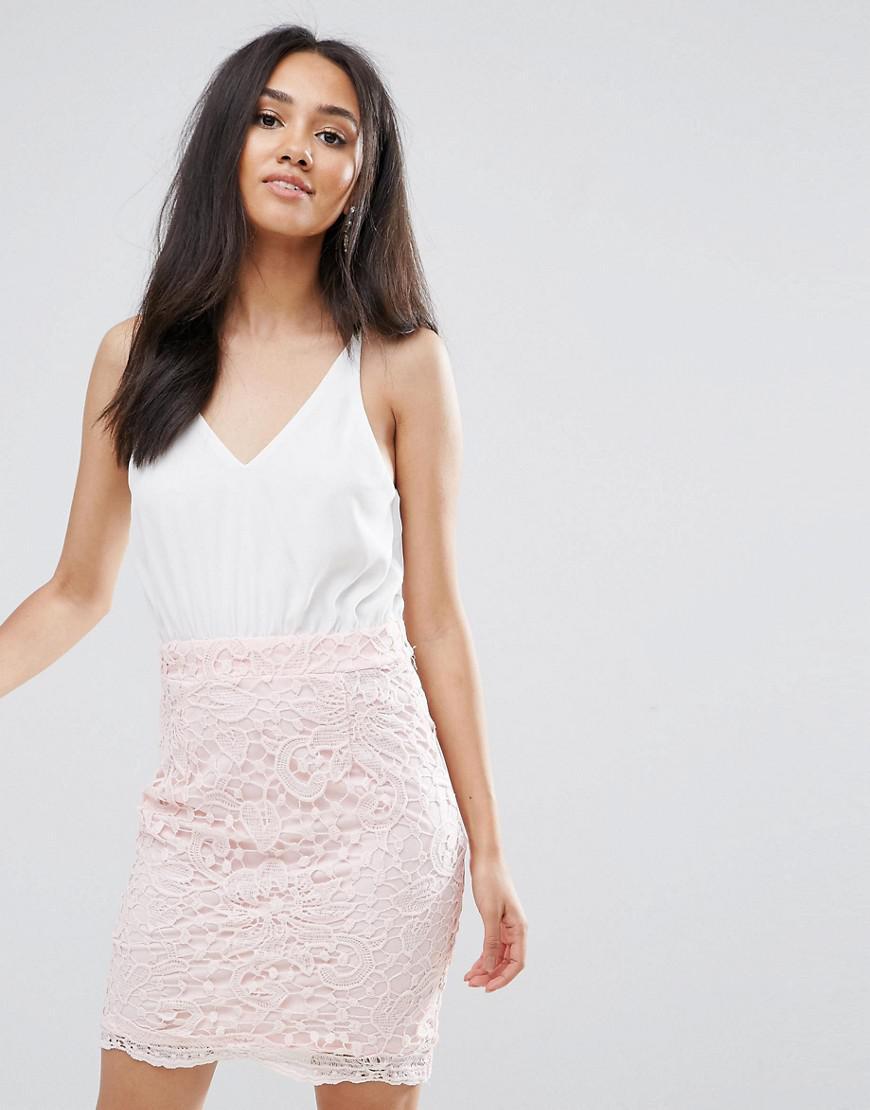 Ax Paris Cream 2 In 1 Crochet Skirt Mini Dress - Cream/pink AX PARIS PYxc3i8Q