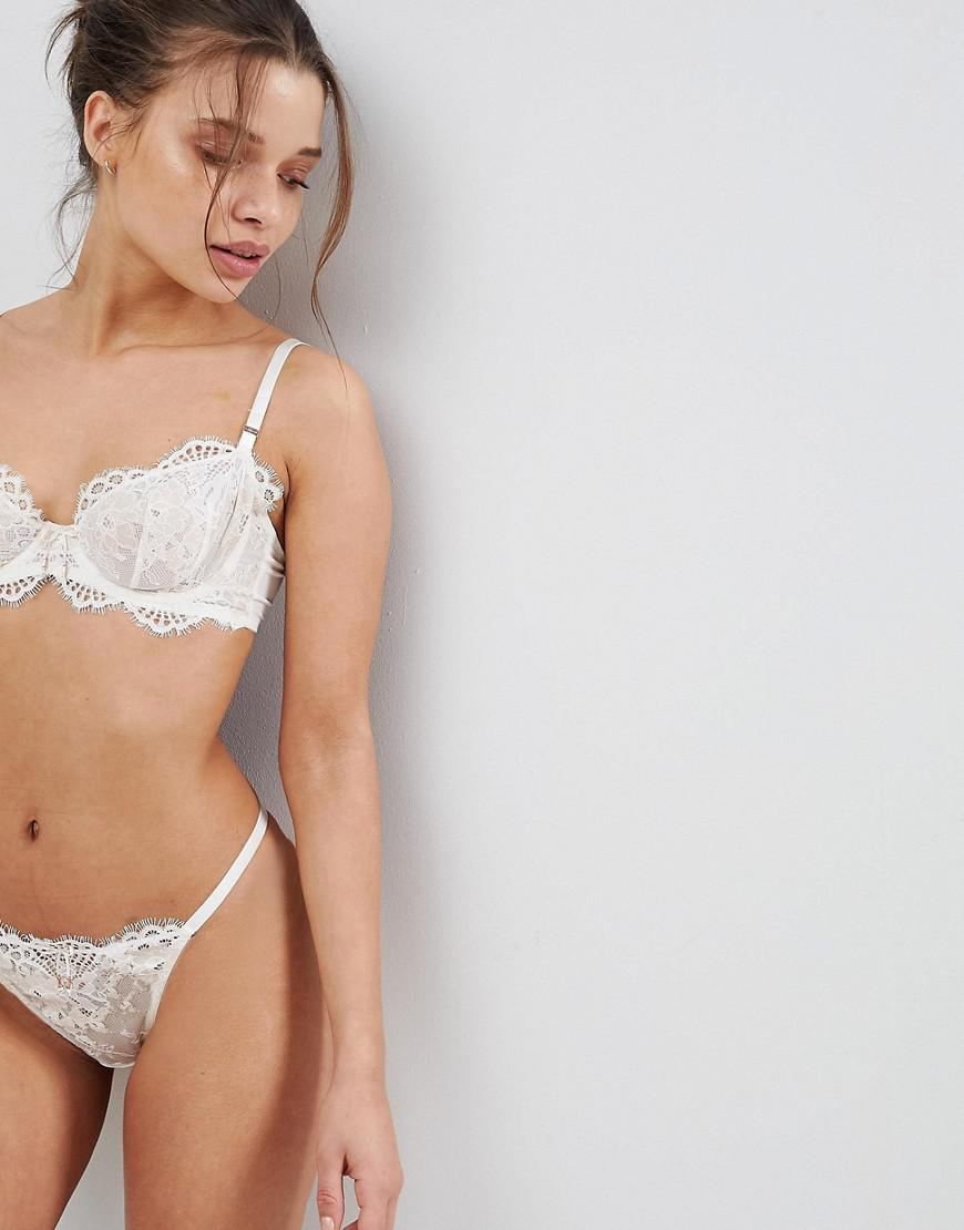 Lyst - Ultimo Bridal Premium Eyelash Lace Thong in White 70cfc3d57