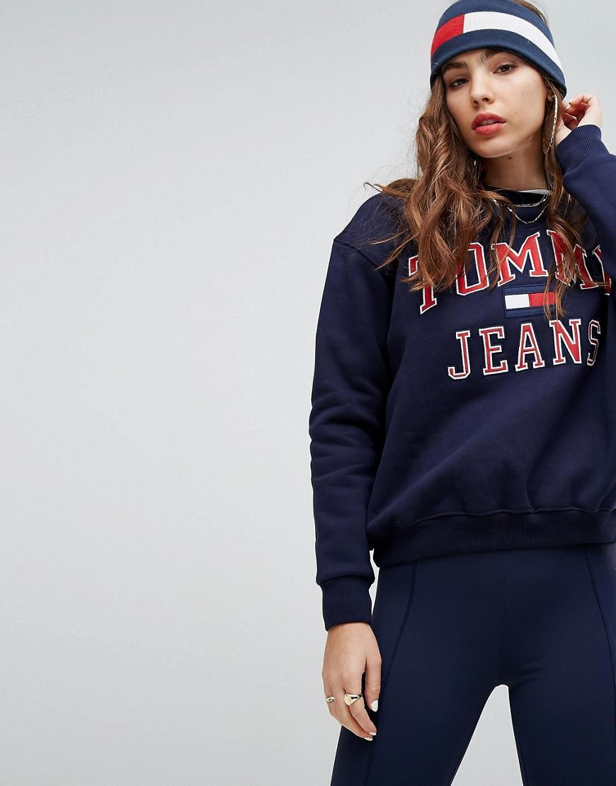 f2894d3cbf9bf5 Lyst - Tommy Hilfiger Tommy Jeans 90s Capsule Logo Sweatshirt in Blue
