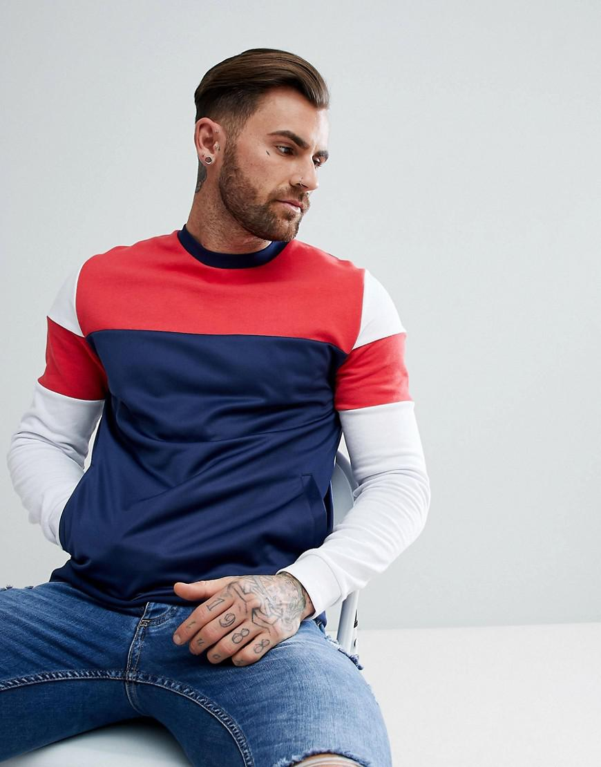 Outlet Supply Outlet Clearance Sweatshirt With Colour Block And Poly Tricot Panels - Navy Asos Cheap Marketable OvZ2r