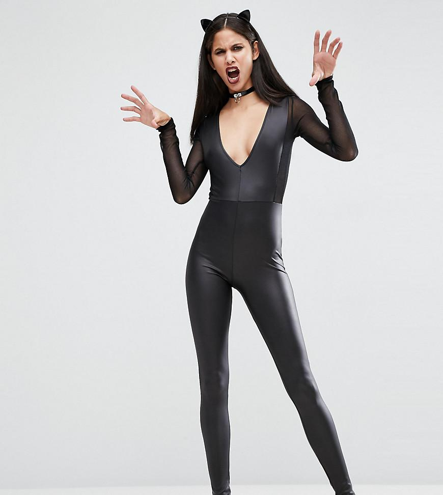 778e6093fc111 ASOS Sexy Fishnet Insert Faux Leather Catsuit in Black - Lyst