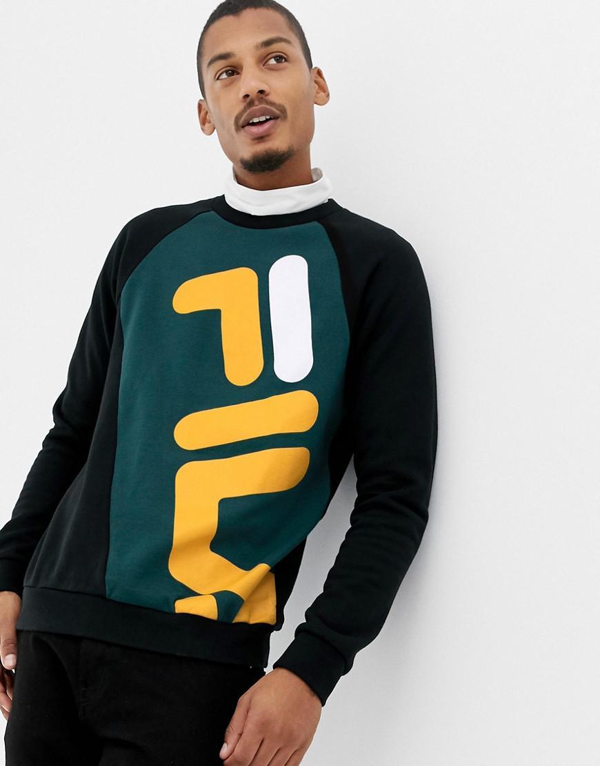 9f72d6ab4676 Fila Black Line Emmett Logo Panel Sweatshirt In Black in Black for Men -  Lyst