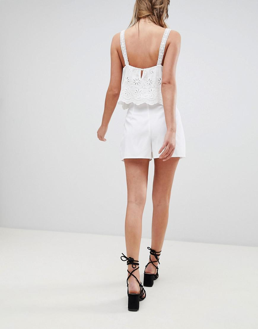 00db821ad49a0 Lyst - Boohoo Paper Bag Tie Waist Shorts in White