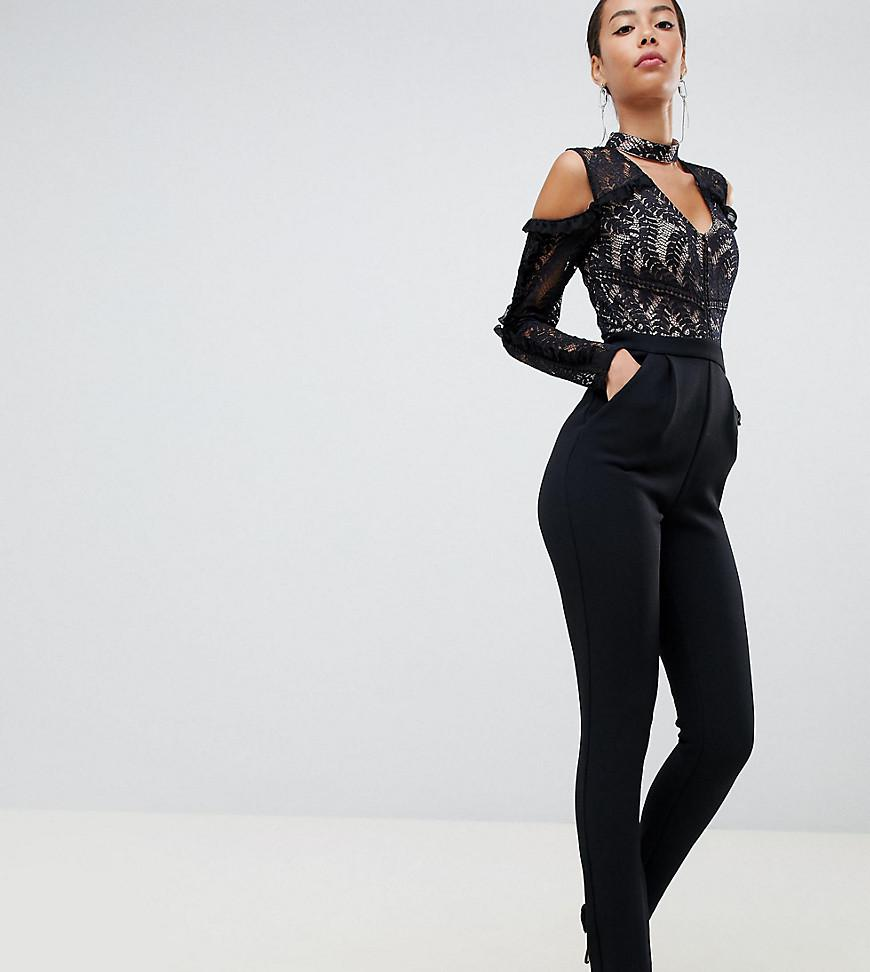 c51ee1d3104 True Decadence. Women s Black Cold Shoulder Lace Top Jumpsuit With Ruffle  Sleeves