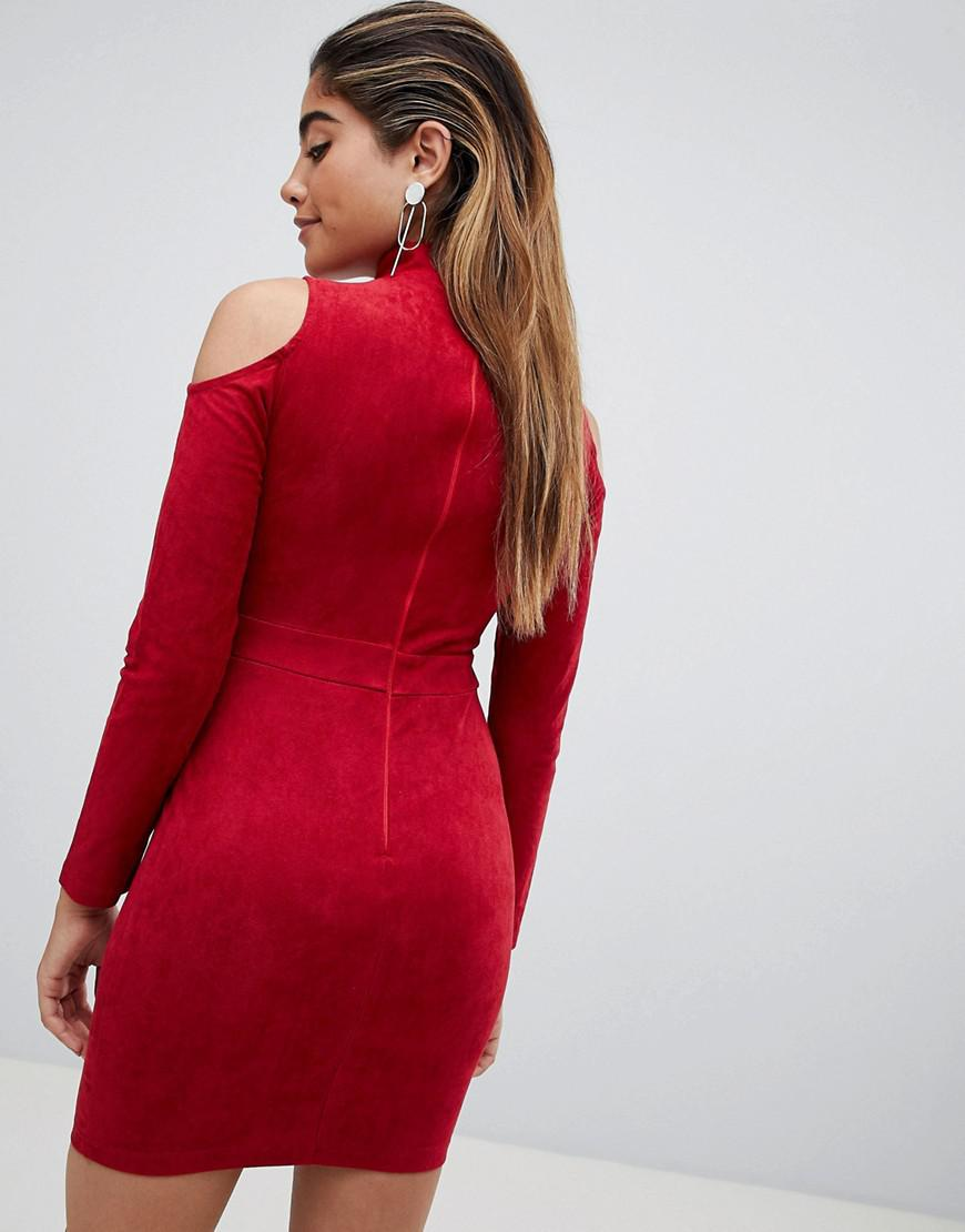 ff8aadb6a3 Lyst - AX Paris Cold Shoulder Long Sleeve Bodycon Dress in Red
