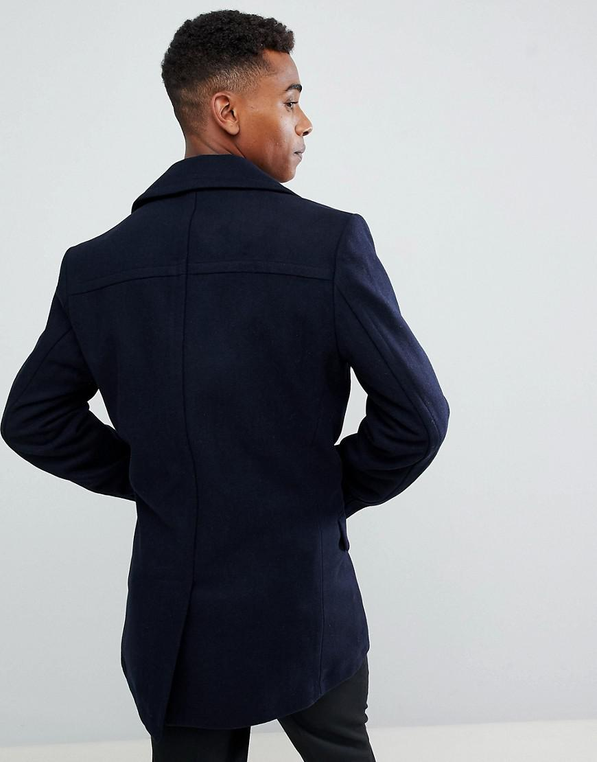 3cd9236e4a4a7d French Connection Wool Blend Double Breasted Pea Coat in Blue for Men - Lyst