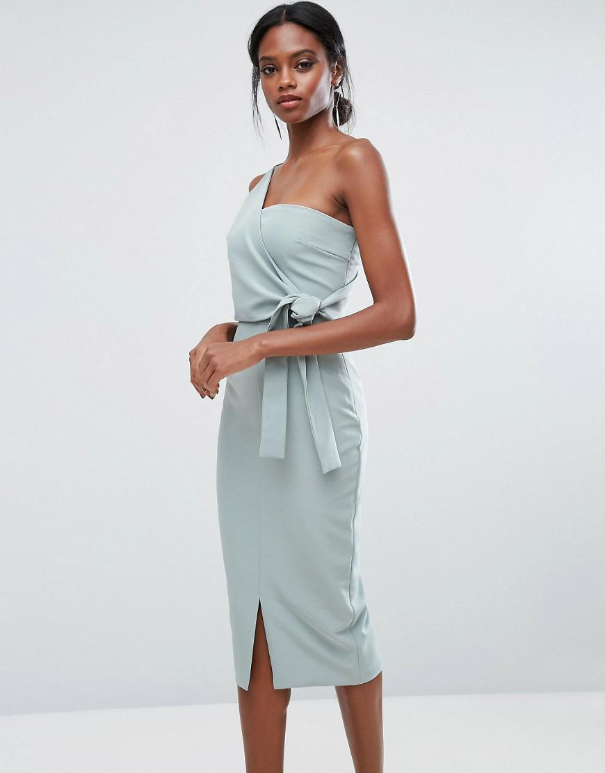 Lyst - Lavish Alice One Shoulder Pencil Dress With Tie Detail in Green 1aa3d07b6