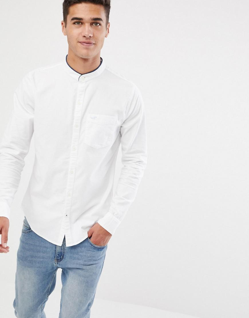 1085ce3d Hollister Muscle Fit Banded Collar Icon Logo Oxford Shirt In White ...