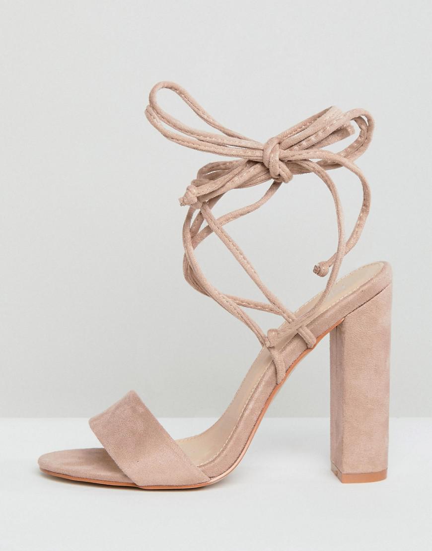 38fa8b6b9b4e Lyst - Public Desire Suzu Tie Up Block Heeled Sandals in Natural