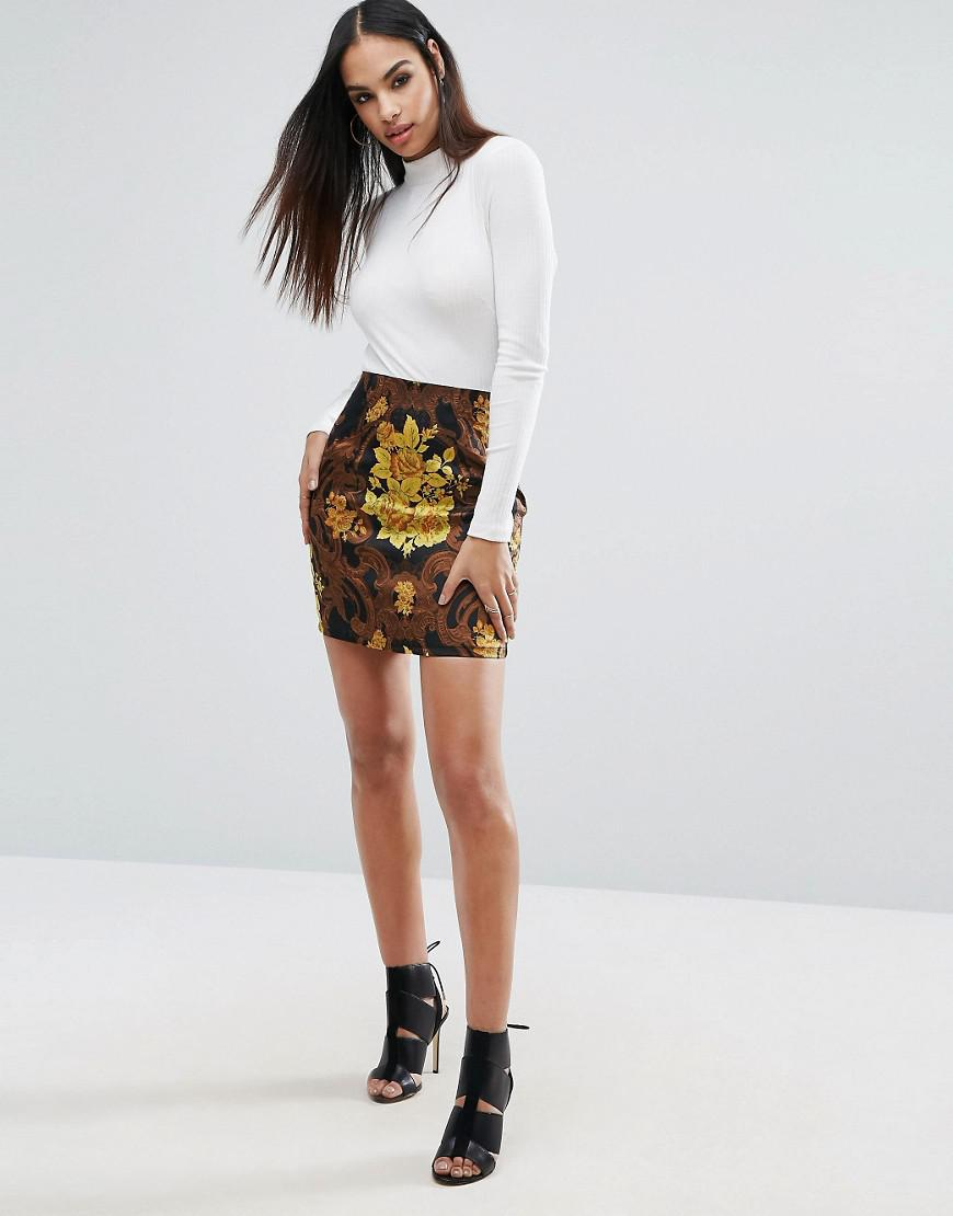 36bb901d772edc Missguided 2 In 1 High Neck Dress With Floral Jacquard Skirt in ...