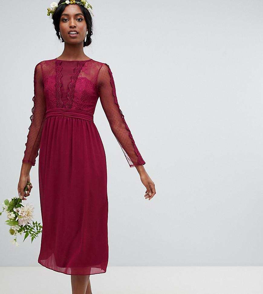 beea64669d85 Lyst - TFNC London Lace Detail Bridesmaid Midi Dress In Burgundy in Red