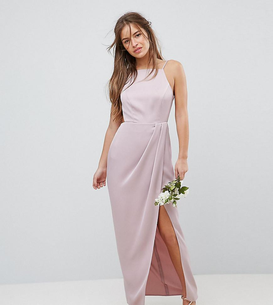 666731948c3 ASOS Drape Front Strappy Back Maxi Dress in Pink - Lyst