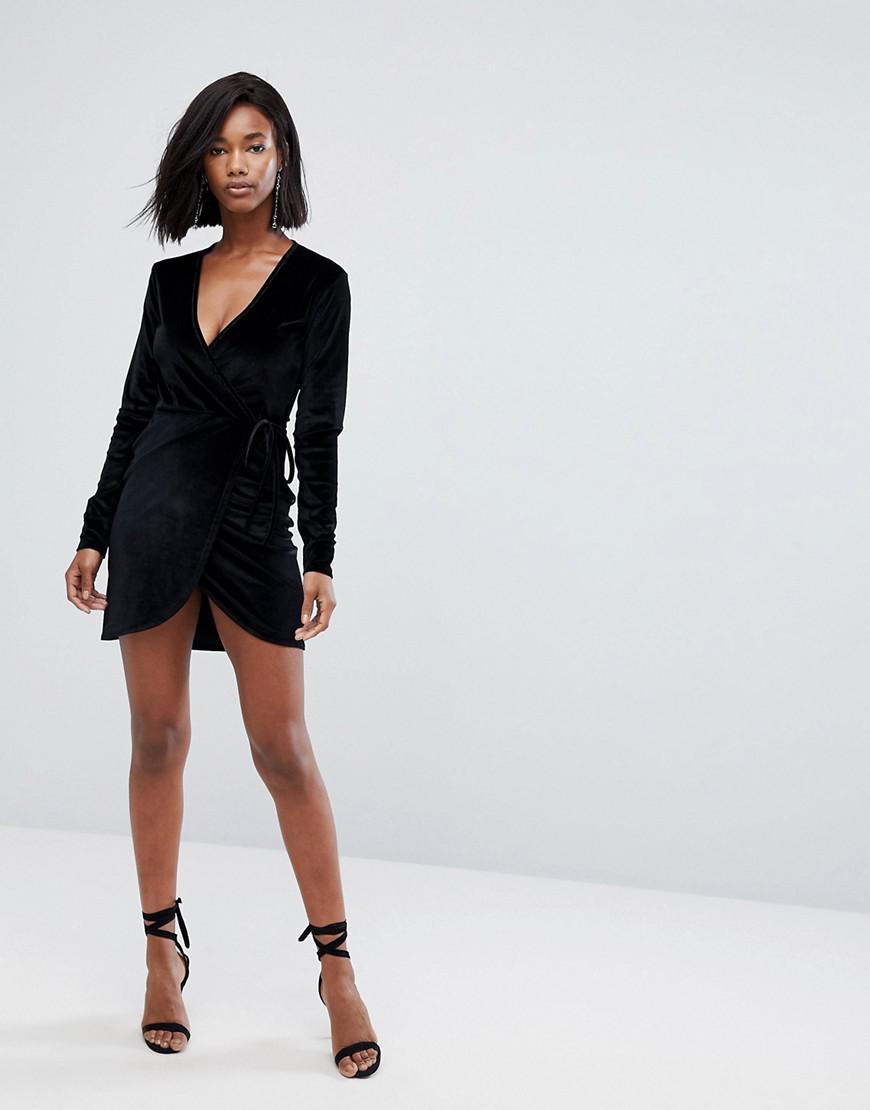 382ed2685fbbf Boohoo Wrap Tie Side Velvet Mini Dress in Black - Lyst