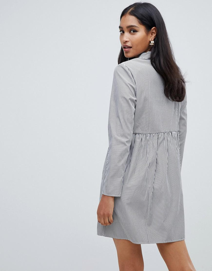 10935e9acd1 Lyst - ASOS Cotton Smock Mini Dress In Stripe With Long Sleeves in Gray